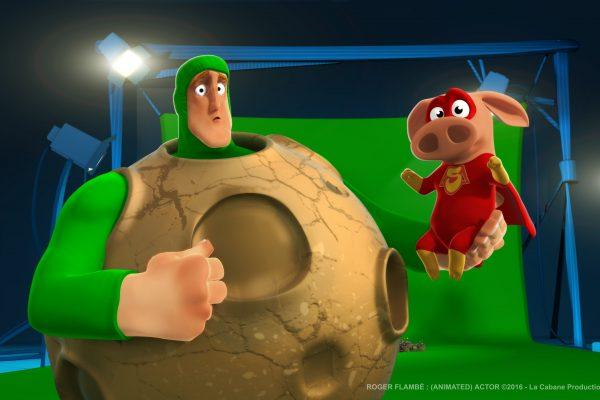 Roger Flambé animated actor Roger Flambé acteur animé Oink Chonk superpiggy superhero pig meteorite green screen