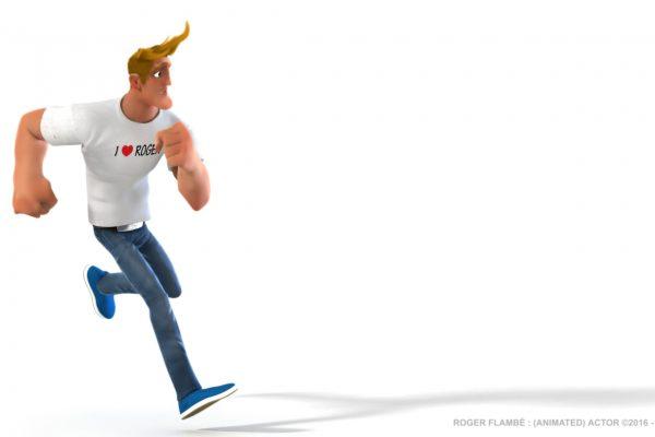Roger Flambé animated actor Roger Flambé acteur animé pose running