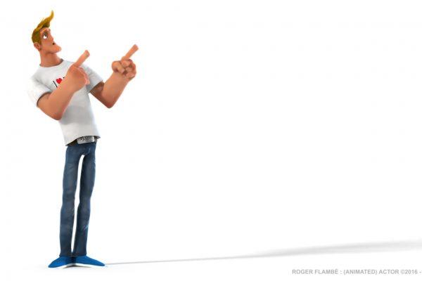 Roger Flambé animated actor Roger Flambé acteur animé pose pointing left